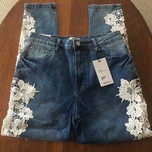 NWT Unique Crochet Legs High Rise Skinny Fit Jeans